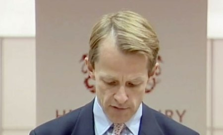 David Laws at a press conference making a resignation speech