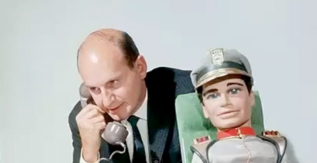 Gerry Anderson with Troy Tempest puppet from Stingray